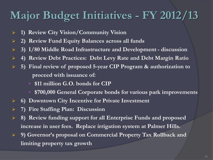 Major Budget Initiatives - FY 2012/13