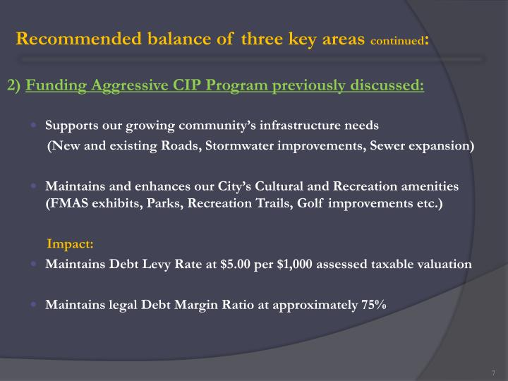 Recommended balance of three key areas
