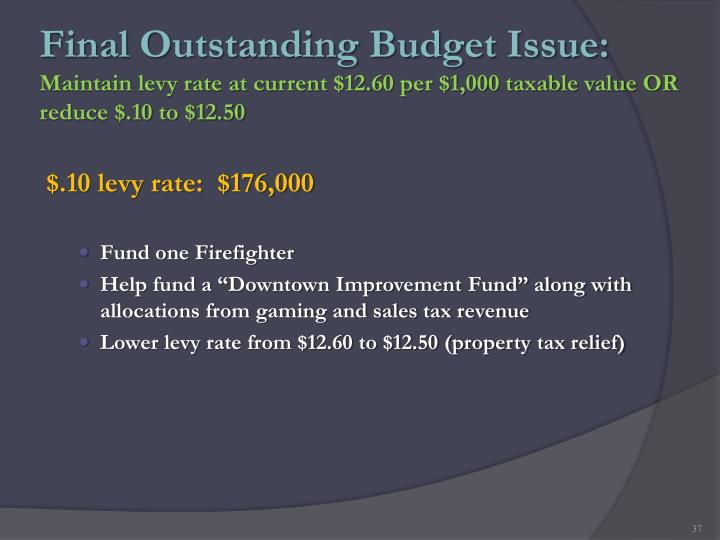 Final Outstanding Budget Issue: