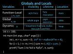 globals and locals