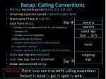 recap calling conventions