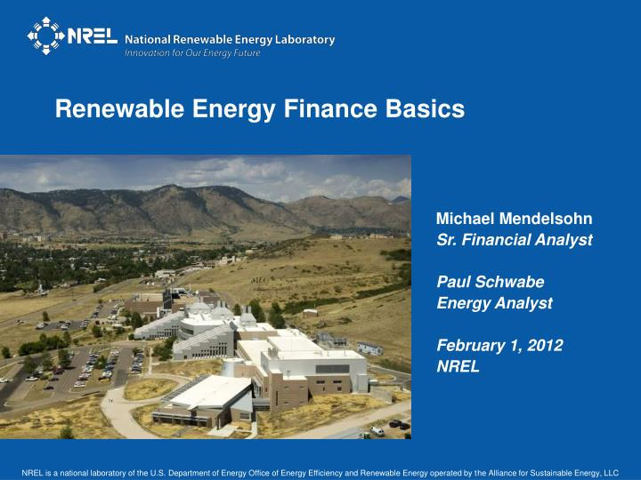 renewable energy finance basics n.