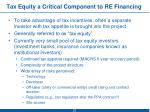 tax equity a critical component to re financing