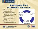 anniversary date 12 months of service