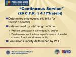 continuous service 29 c f r 4 173 a b
