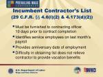 incumbent contractor s list 29 c f r 4 6 l 2 4 173 d 2