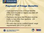 payment of fringe benefits