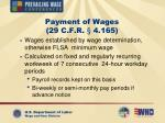 payment of wages 29 c f r 4 165