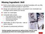 missing ingredient skill