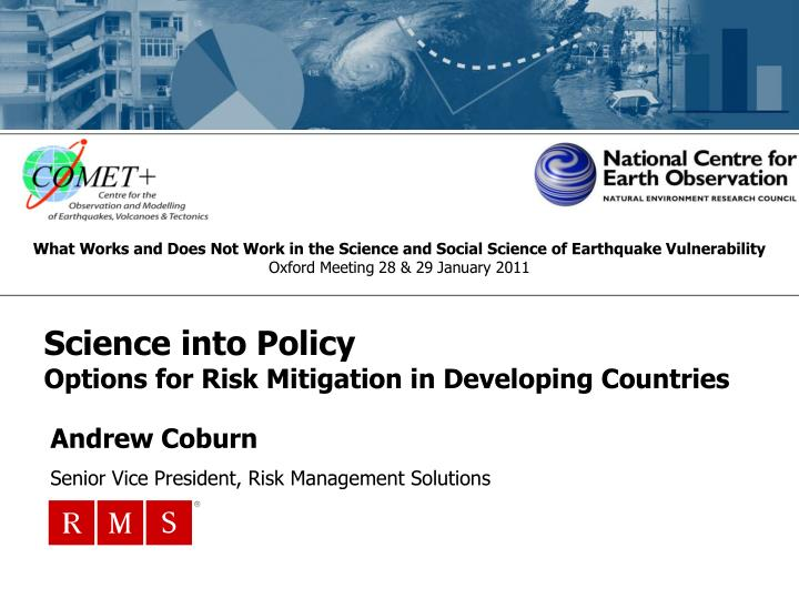 science into policy options for risk mitigation in developing countries n.
