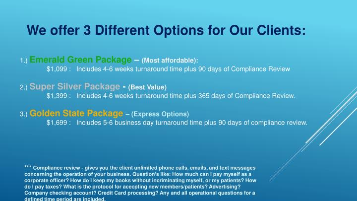 We offer 3 Different Options for Our Clients: