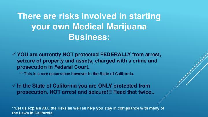 There are risks involved in starting your own Medical Marijuana