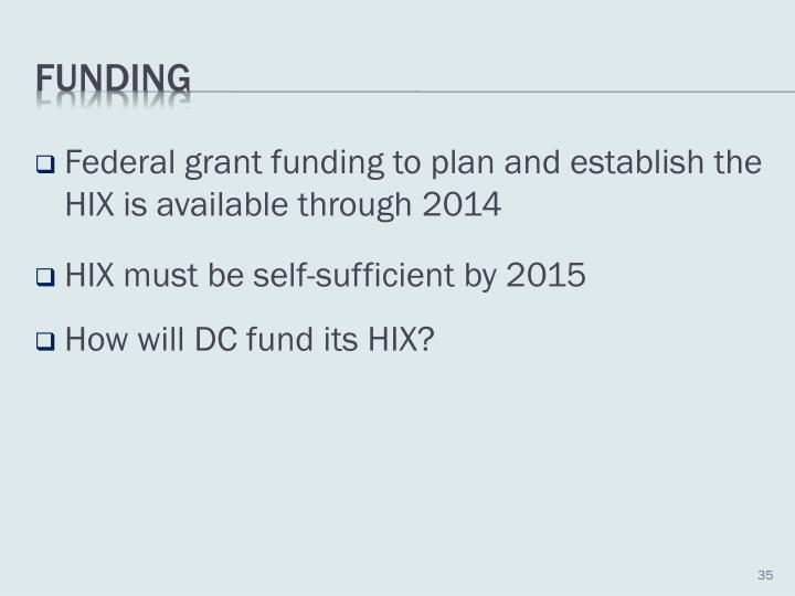 Federal grant funding to plan and establish the HIX is available through 2014