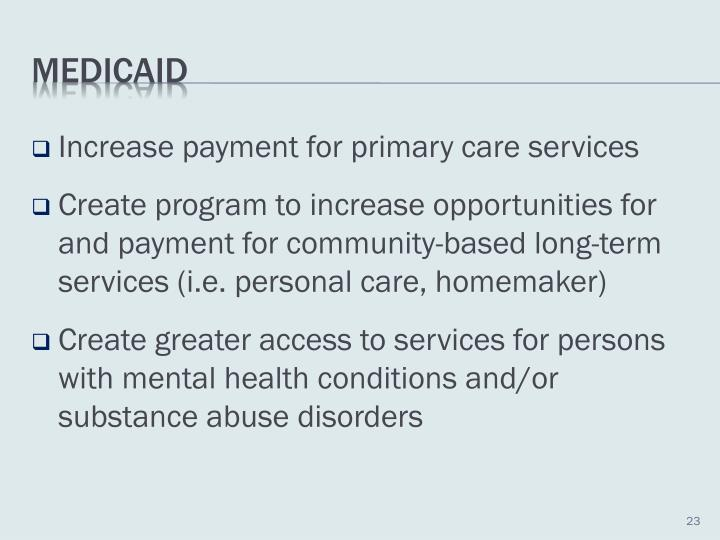 Increase payment for primary care services