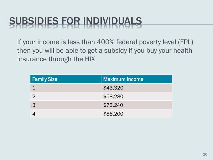 If your income is less than 400% federal poverty level (FPL) then you will be able to get a subsidy if you buy your health insurance through the HIX