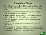 immediate steps new performance bond calculation protocols