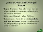 january 2011 osm oversight report