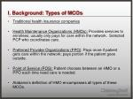 i background types of mcos