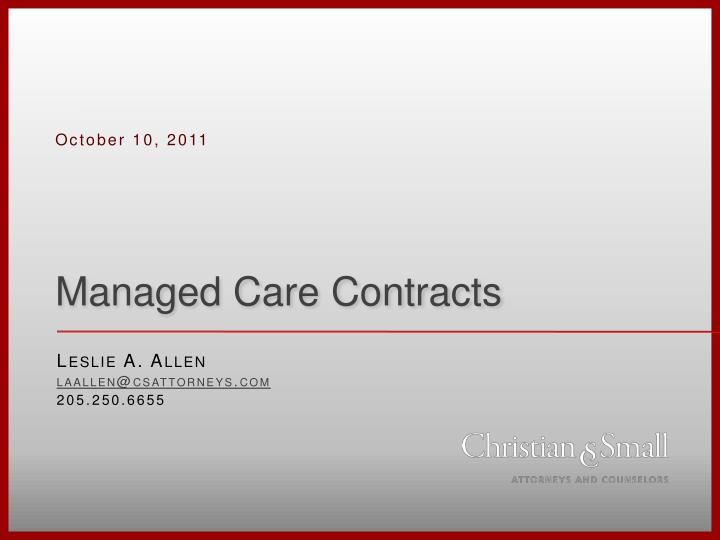 managed care contracts n.