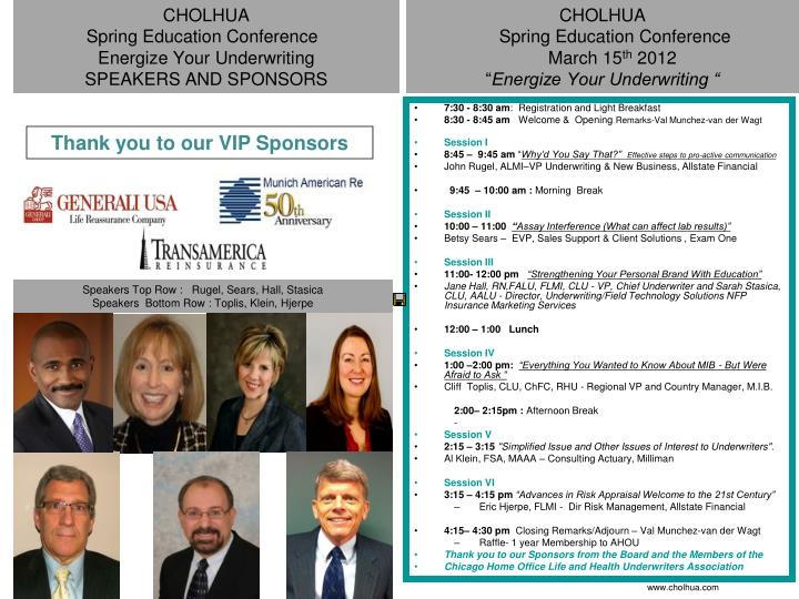 cholhua spring education conference energize your underwriting speakers and sponsors n.