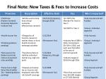 final note new taxes fees to increase costs
