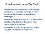premium assistance tax credit