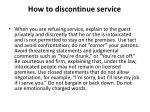 how to discontinue service
