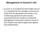 management or licensee s role