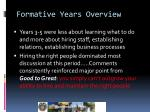 formative years overview