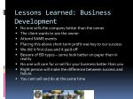 lessons learned business development