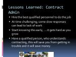 lessons learned contract admin