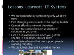lessons learned it systems