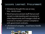 lessons learned procurement
