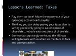 lessons learned taxes