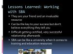lessons learned working with sba