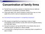 concentration of family firms