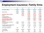 employment insurance family f irms