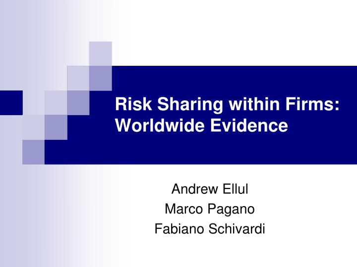 risk sharing within firms worldwide evidence n.
