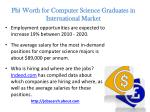 pb worth for computer science graduates in international market
