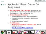 application breast cancer on long island