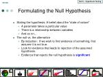 formulating the null hypothesis