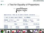 z test for equality of proportions