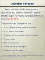 deception variables