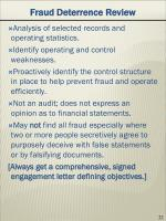 fraud deterrence review