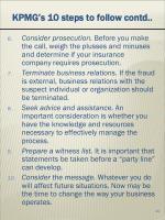 kpmg s 10 steps to follow contd