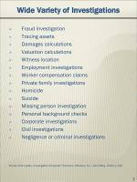 wide variety of investigations