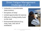 driver fatigue management challenges 2 of 2
