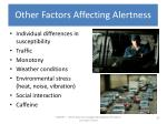 other factors affecting alertness