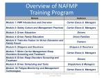 overview of nafmp training program