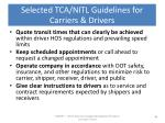 selected tca nitl guidelines for carriers drivers